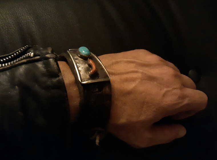 Rockstar Cool! Vintage leather, Turquoise, Rare Coral and Sterling Silver Cuff Bracelet by Matt Dougan Free shipping!