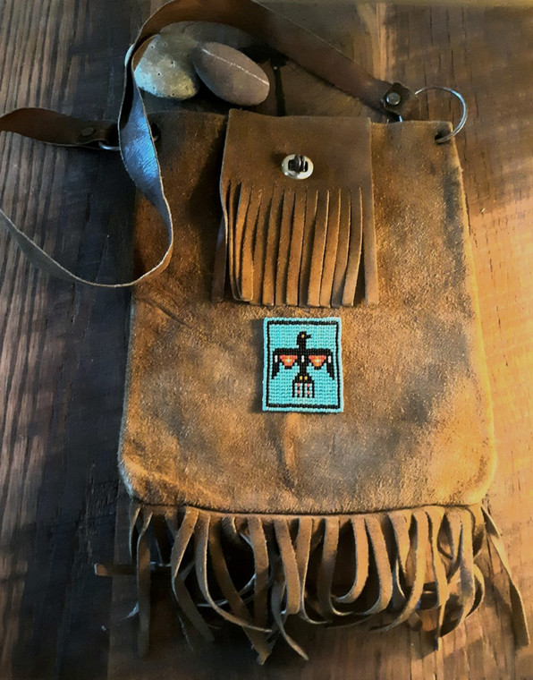 Cool Hippie! Taos Easy rider Vintage leather shoulder Bag with Navajo Thunderbird beadwork Free shipping!