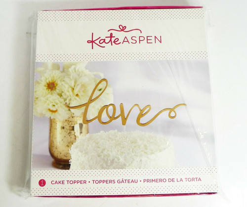 "Kate Aspen Gold ""Love"" Acrylic Cake Topper 7.85"" H x 8.5"" W"