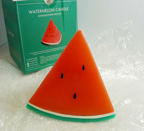 "SunnyLife Watermelon Candle in Watermelon Scent 6"" T x 6"" W"
