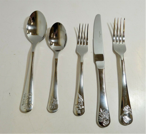 CB2 5pc. Primrose Flatware - Serving Spoon, Serving Fork, Spoon, Fork & Knife