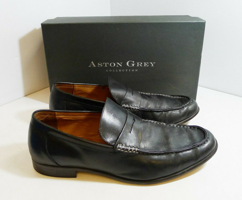 Aston Grey Collection Armato Men's Slip-On Dress Shoes in Black  Size 11.5