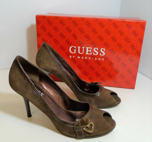 Guess by Marciano Women's Dark Brown Suede Feisty Heels Shoes Size 7 M