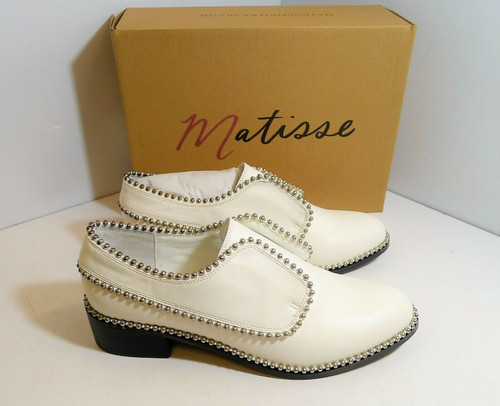 Matisse Women's Alexa White Silver Studded Dress Casual Shoes Size 9.5 M
