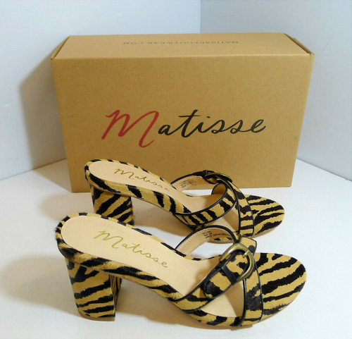 Matisse Women's So Long Zebra Print Opened Toe Heels Mules Shoes Size 6M