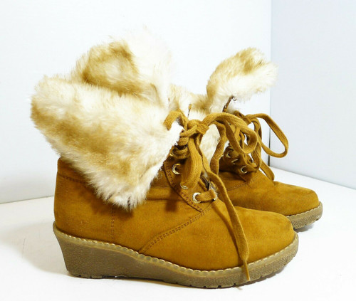 Michael Kors Lace-up Angie Camel Suede Girls Boots Shoes Size 1 US