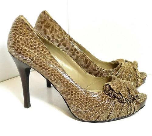 Moda Spana Query Women's Snake Skin Print Peep Toe Heels Shoes in Taupe Size 9.5