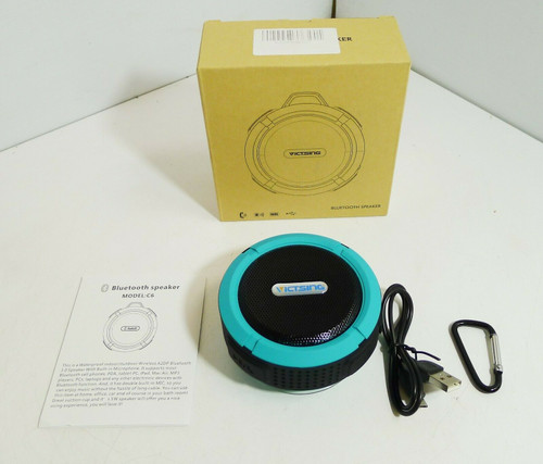 VicTsing Waterproof Wireless Bluetooth Speaker Black and Aqua  NEW - Open Box