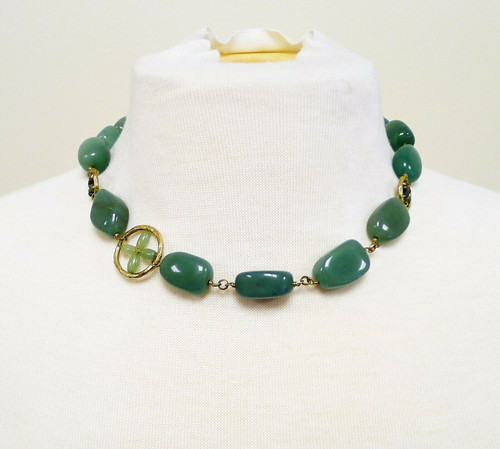 "Sigrid Olsen Signed Jade Colored Gemstones 18"" Collar Necklace"
