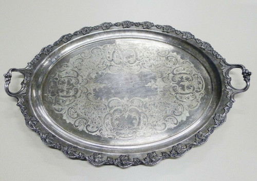 Barbour Silver Co. Electroplate BSCEP - 2 Handle Footed Serving Platter Tray