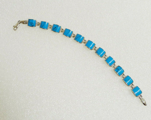 "Silver and Turquoise Colored Square Stone Link Bracelet 8"" - Marked 925"
