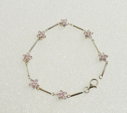 "Silver and Pink Floral Flower Rhinestone 7.5"" Bracelet - Marked SU 925 CZ CH"