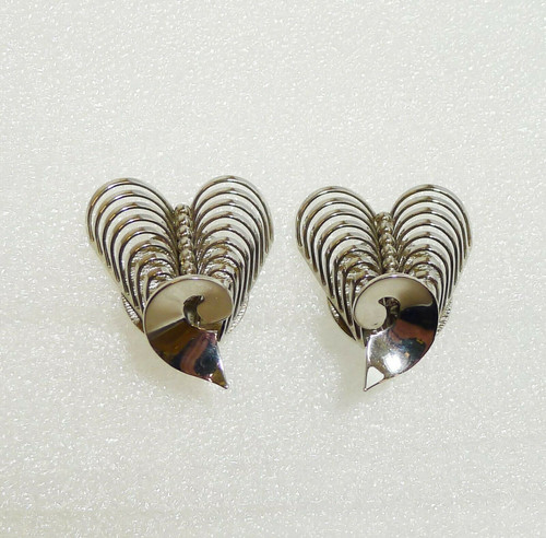 Signed Kramer Silver-Tone Clip Earrings
