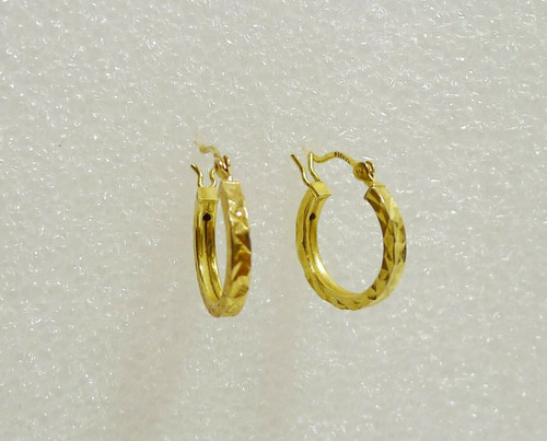 Gold Plated Over Silver Diamond Cut Hoop Earrings 925 HAN with Snap Enclosures