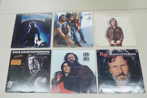 Set of 6 Kris Kristofferson Vintage Vinyl LP Records - Surreal Thing and More