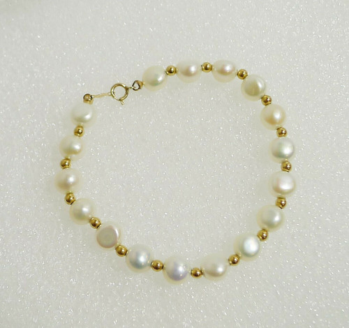 "6.5"" White Button Beads and Gold Filled Bracelet"