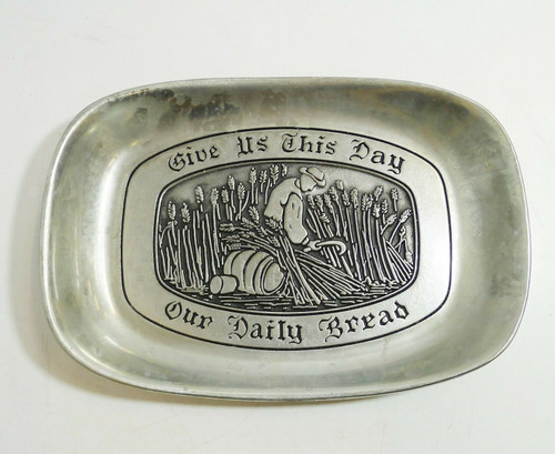 Wilton Armetale Give Us This Day Our Daily Bread Pewter Bread Tray
