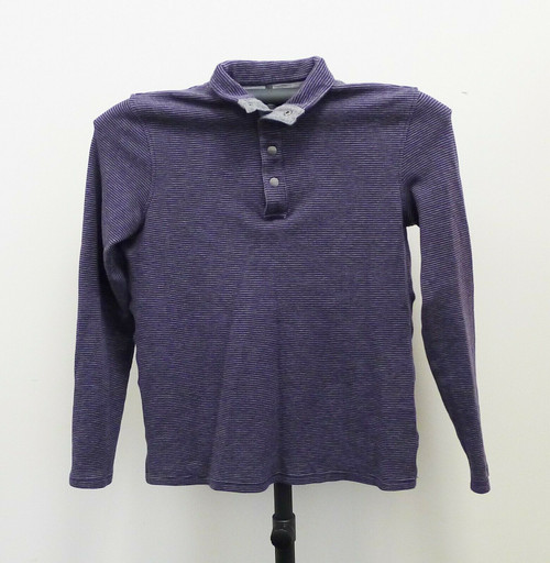 Michael Kors Men's Gray/Purple Collared Striped Long Sleeve Shirt Size Medium