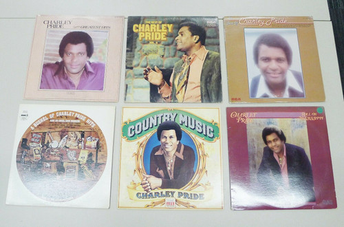 Set of 6 Charlie Pride Vintage Vinyl LP Records - Greatest Hits and More