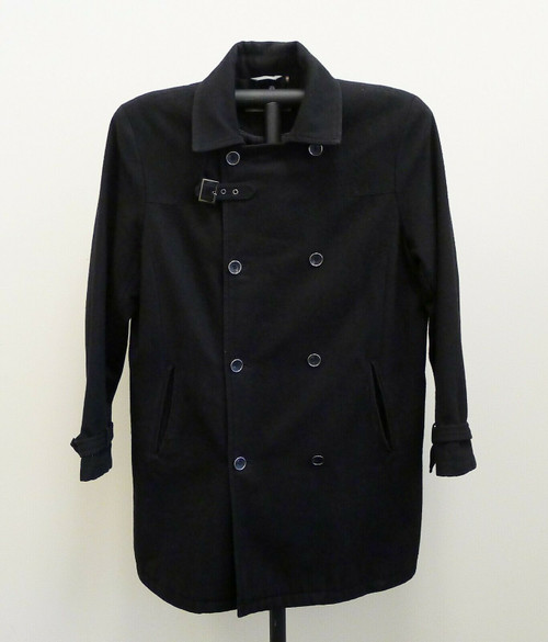 Kenneth Cole Men's Black Double Breasted Pea Coat Wool Blend Heavyweight Size L