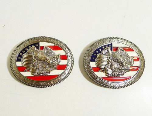 Set of 2 Silvertone Western Eagle U.S. American Flag Belt Buckles