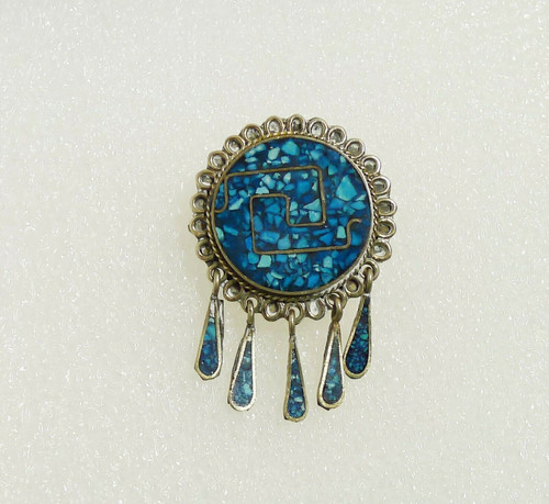 Vintage Silvertone Turquoise Colored Inlay Pin Pendant Marked Mexico LPAC