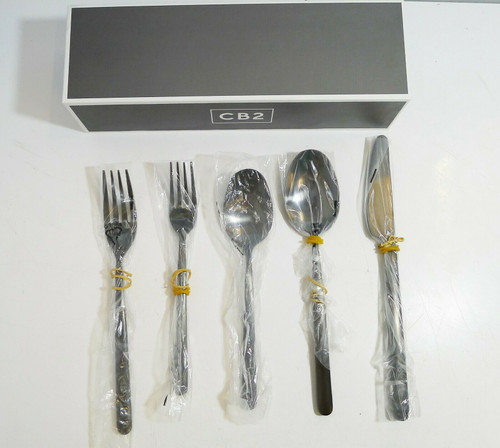 CB2 5 Piece Allegra Brushed Black Flatware -  Serving for One  OPEN BOX