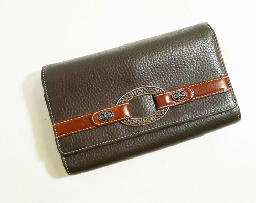 Brighton Trifold Large Brown Leather Wallet with Silver Accents