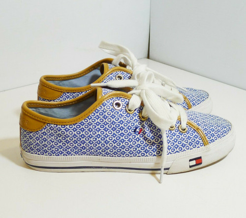 Tommy Hilfiger Women's Blue and White Canvas Shoes Size 7 M