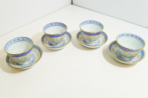 Set of 4 Blue, Orange and Gold Made in China Tea Cups and Saucers
