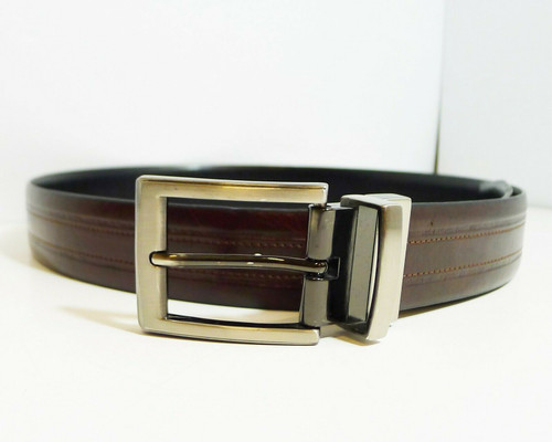 Geofrey Beene Men's Reversible Black/Brown Belt with Silvertone Buckle Size 32