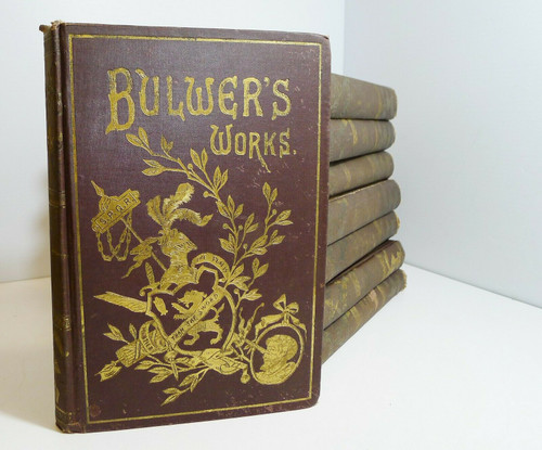 Set Of 8 Bulwer's Works - Sir Edward Lytton Bulwer Vintage Hardback Books