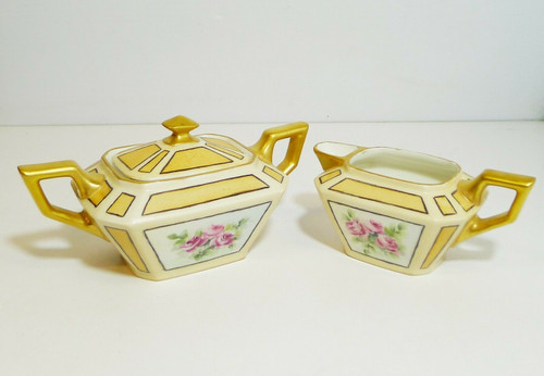 Jean Pouyat JPL France Limoges Gold and Pink Roses Cream and Sugar Set