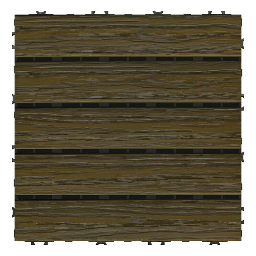 "Aura Pre-Finished Polymer Deck Tile in Walnut 12""x12"" (6 SQ. FT. Total)  NEW"