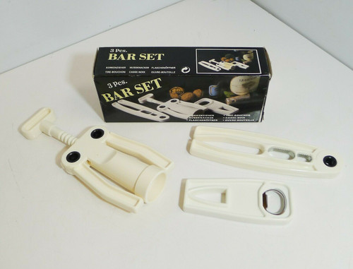 3pc. White Plastic Bar Set - Cork Screw, Nut Cracker & Bottle Opener - Open Box