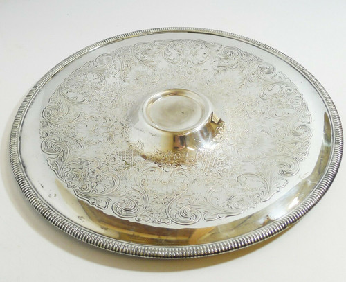"WM Rogers Mfg. Co. Silver Plated 12"" Round Serving Tray #4266"