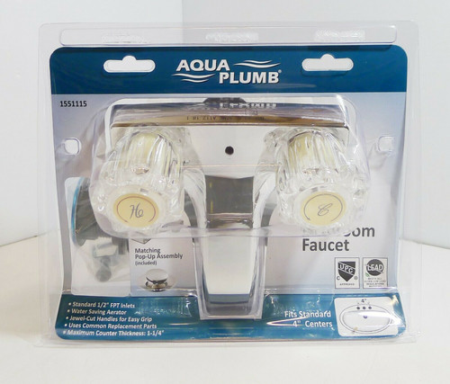 "Aqua Plum 1551115 Bathroom Faucet 2-Acrylic Handle 4"" Center Chrome Finish NEW"