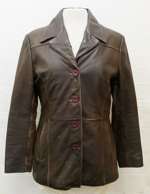 Wilson's Women's Brown Leather Thinsulate Insulation Button Up Coat Size Medium