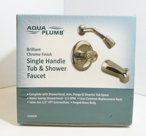 Aqua Plumb 1550220 Single-Handle Tub/Shower Polished Chrome Faucet with Trim NEW