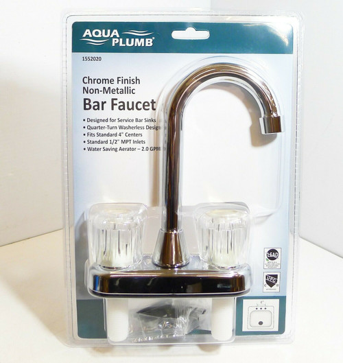 Aqua Plumb 1552020 2-Acrylic Handle Non-Metal Bar Faucet Chrome Finish NEW