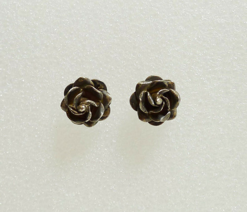 Vintage Rose Sterling Silver Earrings - Marked TC-10 SCC 925 - 5.4g TW