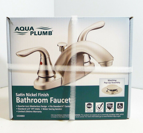 AquaPlumb 1554002 Swan Neck Bathroom Faucet w/Pop-Up Drain, Satin-Nickel Finish