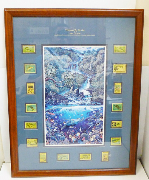 Embraced By The Sea Robert Lyn Nelson Framed Sea Life Art w/Commemorative Stamps
