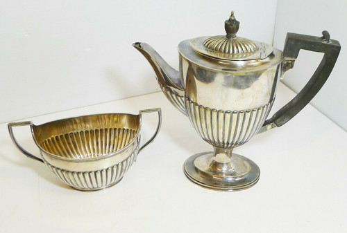 Vintage Daniel and Alter D&A EPNC Hard Soldered Teapot and Sugar Bowl 9179