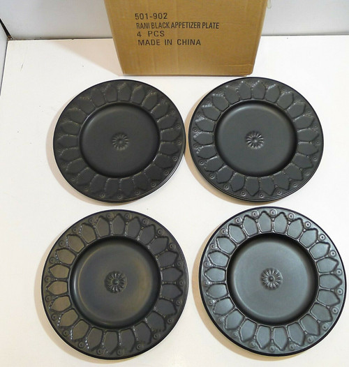 "CB2 Rani Black Appetizer Plate 8"" Round Set Of 4  501-902  OPEN BOX"