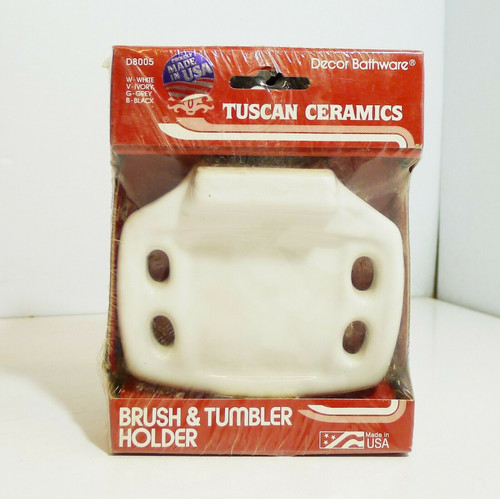 Tuscan Ceramics Toothbrush and Tumbler Holder in White D8005W   NEW