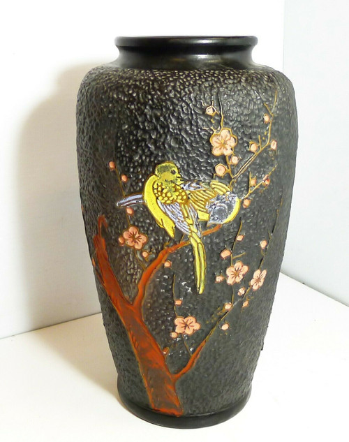 "Vintage 12"" Bird Theme Hand Painted Metal Vase Made In Japan"