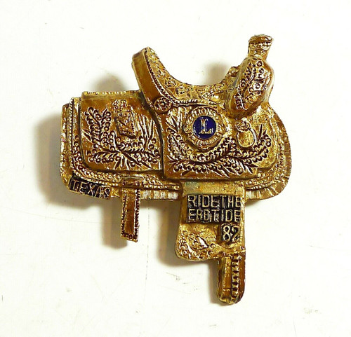 Vintage 1982 Ebb Tide Lions Club Ride The Ebb Tide Texas Saddle Gold Tone Pin
