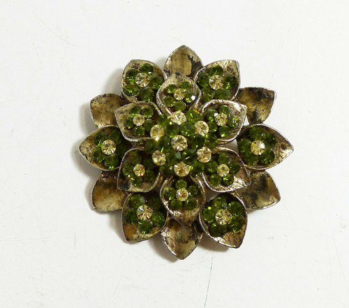 "Vintage Green Sparkle Pin Brooch 2.25"" x 2.25""  *Pin Does Not Lock"