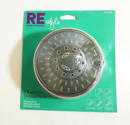 Room Essentials RE Style 5-Function Showerhead in Chrome Finish NEW